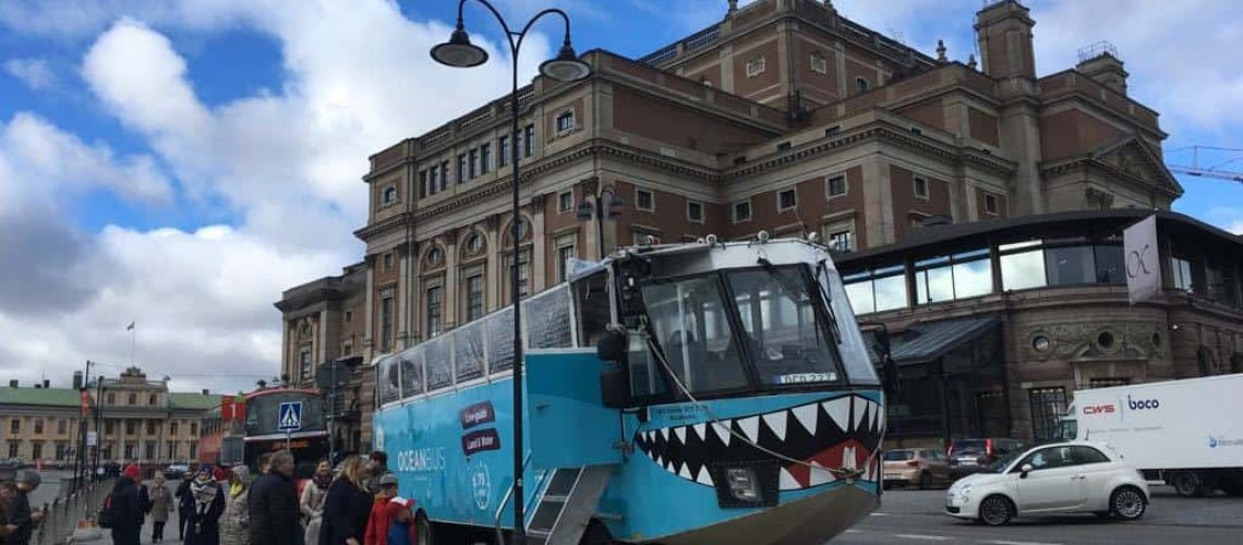 amphibious bus in downtown Stockholm